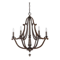 Capital Lighting Fixture Company - Corday Rustic Six-Light Chandelier - -Corday Rustic Six-Light Chandelier  -Includes 10-Feet of chain and 15-Feet of wire  -Includes 2 Finial Options Capital Lighting Fixture Company - 4366RT