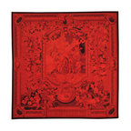 1800GetARug - Square Red Overdyed Aubusson Tapestri Oriental Rug Hand Woven Sh19034 - Square Red Overdyed Aubusson Tapestri Oriental Rug Hand Woven Sh19034