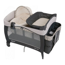 Graco - Graco Pack n Play Playard with Newborn Napper Elite Station - Vance - 1812883 - Shop for Playpens from Hayneedle.com! Designed to optimize organization and comfort for your baby the Graco Pack n Play Playard with Newborn Napper Elite Station - Vance is made for your child to use from the time he's born until he's a toddler. Featuring extra-soft and beautifully styled velour your baby will love going to sleep in the newborn napper. You can even shield him from the bright light with the canopy on the newborn napper. This pack n play also has a removable full-size bassinet so you don't have to worry about waking your baby up when it's time to move. The napper is made for children under three months who aren't rolling while the bassinet holds children under 15 pounds. The deluxe storage hamper not only helps you keep clothes diapers wipes and other necessities nearby but also keeps your living room bedroom or any other room clean and organized. The larger changing station is made to hold children up to 30 pounds and is made of material that is easy to clean. Easy to convert to a portable playard the signature Graco push-button fold makes folding and storing this pack n play simple. An MP3 docking station allows you to play your baby your favorite tunes the ones you know will lull them to sleep. It also controls the vibration in the napper and bassinet. The mesh on the sides makes sure there's plenty of ventilation and the carrying bag makes this pack n play easy to travel with and store.About GracoWhen Russell Gray and Robert Cone joined forces in 1942 baby products were not their focus. The pair originally formed Graco Metal Products in Philadelphia Penn. The firm created machine and car parts for local manufacturers for 11 years. Gray left in 1953 leaving Cone as sole owner and Cone got the idea to manufacture baby products from a Graco employee David Saint father of 9. Inspired by the idea of Mrs. Saint soothing her babies on the backyard glider the Graco Swy