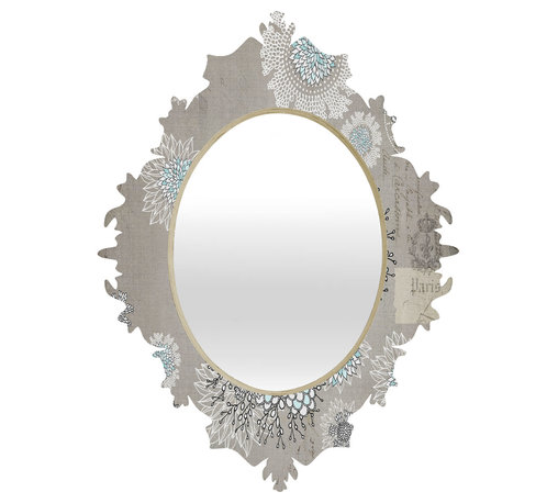 DENY Designs - Iveta Abolina French Blue Baroque Mirror - As we like to say around here, if it ain't baroque, don't hang it! With a sleek mix of baltic birch ply trim that's unique to each piece and a glossy aluminum frame, the baroque mirrors collection bumps your stylish reflection up a notch. Custom made in the USA for every order.