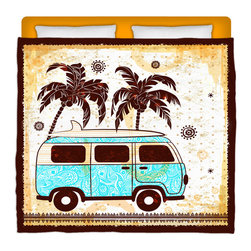 """Surf Bus"" Eco Friendly Made In USA King Size Comforter - Take A Ride into your bed with this King Size ""Surf' Bus"" Premium Comforter From Our Surfer Bedding Bed and Bath Collection."