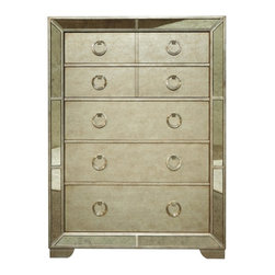 Pulaski - Pulaski Farrah  Drawer Chest with Mirror Panels in Metallic - The Chest is a stunning accent to your room that provides storage without taking up a large footprint. It is beautifully detailed with an antiqued mirror panel border giving it a glamorous appeal. The Chest features luxurious details like felt lining in the top drawers and a cedar lined bottom drawer to keep linens fresh. Each of the five drawers are finished with a metallic finish and complemented with custom nickel ring pulls.