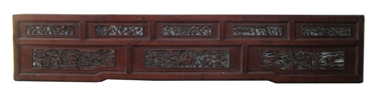 Golden Lotus - Old Chinese Scenery Carving Wall Decor Panel Frame - This is an old panel / carving wood art with Chinese  oriental scenery carving. It can be as a wall accent decoration or reframed as mirror or others.