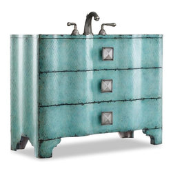 """Cole & Co - Designer Chambers Sink Chest - Three drawers with wallpapered interior. Pewter hardware. Made from hardwood solids. Handpainted crackle finish. 44 in. W x 18.25 in. D x 34 in. H (133 lbs.)Add a punch of color and style to your bathroom space with the Chambers Sink Chest. Cole + Co. Carlylse Drop-in for use with existing wooden top; Cole + Co. Fairfield undermount should you want to add your own granite, marble or quartz top.  If stone top is preferred, please note on order """"Cut for Granite"""" and our craftsmen will cut a large hole in the top of the vanity prior to shipment so that sink positioning during stone top installation is easier.  Please note all sink recommendations presume a standard 8 in. widespread faucet installation with 1 3/8in. valves and no special placements.  Any and all vanities with custom cuts (including for a specified sink or stone top) are considered a special order, and therefore are non-returnable.  Cole will also cut to your own custom sink presuming it fits.  Just note on the order which sink you will be using.  If we do not have a template for your particular sink, to insure a proper fit, we may require you to send the sink or a template."""