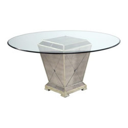 "Z Gallerie - Borghese Round Dining Table - Our glamorous mirrored furniture collection catches the light and will make any room glisten. Solid hardwoods with antique beveled mirror veneer finished with champagne gilt wood trim. Also available in 54"" glass $649.00."
