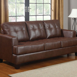 """Coaster - Samuel Sleeper - Dark Brown - Our Samuel sleeper is a great space saver and a stylish addition to any room. Pair this sleeper with our Samuel sofa collections to make the perfect match. Wrapped in an ultra soft bonded leather with plush seating. Have your overnight guests rest easy on this 4.5"""" thick mattress. Available in cream, black and dark brown.; Solid Wood Frame; Dark Brown Finish; Contemporary Style; Bonded Leather Upholstery; Dimensions: 85.00""""L x 38.00""""W x 36.00""""H"""