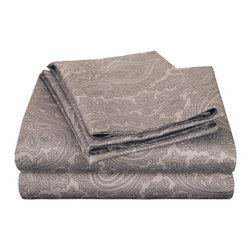 600 Thread Count King Sheet Set Cotton Rich Italian Paisley - Dark Grey - A modern retelling of a classic design! This sheet set evokes a simpler age while still maintaining its 21st century sensibility. A superior blend of materials makes these sheets soft, easy to care for and wrinkle resistant.