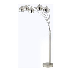 Cal Lighting - Cal Lighting BO-2030-5L Five Light 40 Watt Arc Floor Lamp with Metal Shade - Cal Lighting BO-2030-5L Contemporary / Modern Five Light 60 Watt Metal Arc Floor Lamp with Metal Rust ShadeCal Lighting has become one of the premiere designer/manufacturer of quality lighting products in North America with manufacturing facilities located in China. Their mission is to provide the home furnishing and lighting industries with quality products at competitive prices, timely delivery and most of all, reliable customer support and service. Cal Lighting carries a very wide selection of products that include wrought iron, mission/mica, lifestyle, juvenile, traditional/classical, task/functional and track/display lighting. Each year, they strive to provide their customers with the newest and latest designs.Features: