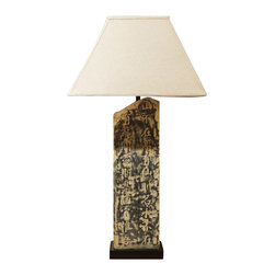China Furniture and Arts - Zen Calligraphy Table Lamp - This beautiful table lamp is hand engraved of stone with Chinese calligraphy that relates, in poetic form, the writer's need to heal the world and the woes of humankind. Topped with a matching linen shade. 75-watt max. (Bulb not included)