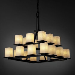 Justice Design Group - Justice Design Group FSN-8667 Montana 20 Light 2-Tier Ring Chandelier F - Justice Design Group FSN-8667 Montana 20 Light 2-Tier Ring Chandelier from the Fusion CollectionThe Fusion Collection� offers a selection of handcrafted artisan glass shades. The collection consists of four distinctive glass finishes: Droplet, Ribbon, Weave, and Opal (white). These especially beautiful artisan glass finishes complement the clean designs of Justice Design fixtures.From an elegant lamp atop a contemporary end table to a dramatic sconce illuminating a formal entryway, Justice Design offers a wide array of lighting solutions for residential and commercial settings. Create a mood, complement a theme, or simply add the perfect accent with a Justice Design decorative lighting fixture.