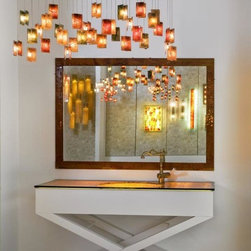 Galilee lighting - Stained glass art-by Galilee lighting - Art glass sink and countertop and a mirror with art glass frame.