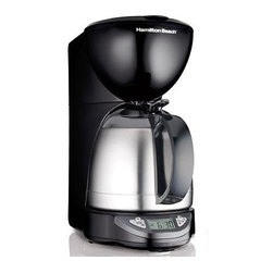 Hamilton Beach - Hamilton Beach - Programmable Thermal 10 Cup Coffeemaker - Uses 8-12 cup basket style coffee filters. No-twist lid for instant serving - just press & pour. Thermal insulated carafe keeps coffee hot and fresh-tasting for hours. Programmable timer lets you wake up to freshly brewed coffee. Drip-free pouring. Pause & serve. Automatic shutoff. Large clock display. Makes iced coffee too. Dimensions: 7.88 in. D x 12.5 in. W x 13.88 in. H ( lbs.)
