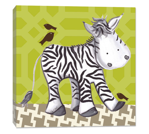 """Doodlefish - Zach Zebra - Green, Green, Stretched Canvas - Zach is a fun, vibrant zebra who gives his little bird friends a piggy back ride through the jungle. This artwork is an 18"""" x 18"""" Gallery Wrapped Giclee Print. It is a mix of a graphical green and grey background and hand painted artwork by Regina Nouvel."""