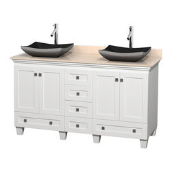"Wyndham Collection - 60"" Acclaim White Double Vanity w/ Ivory Marble Top & Altair Black Granite Sink - Sublimely linking traditional and modern design aesthetics, and part of the exclusive Wyndham Collection Designer Series by Christopher Grubb, the Acclaim Vanity is at home in almost every bathroom decor. This solid oak vanity blends the simple lines of traditional design with modern elements like beautiful overmount sinks and brushed chrome hardware, resulting in a timeless piece of bathroom furniture. The Acclaim comes with a White Carrera or Ivory marble counter, a choice of sinks, and matching mirrors. Featuring soft close door hinges and drawer glides, you'll never hear a noisy door again! Meticulously finished with brushed chrome hardware, the attention to detail on this beautiful vanity is second to none and is sure to be envy of your friends and neighbors"