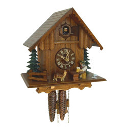 Schneider Cuckoo Clocks - 1-Day 8.6 in. Wooden Cuckoo Clock in Antique Finish - Chalet style. 1-day rack strike movement. Cuckoo calls and strikes every half and full hour. Wooden cuckoo, dial with roman numerals and hands. Night shut-off switch. Beer drinker, dog, lifts beer glass in every half and full hour. Shut-off lever on left side of case silences strike, call and music. Made from wood. Antique finish. Made in Germany. 8.6 in. W x 6.3 in. D x 8.6 in. H (4.4 lbs.). Care Instructions
