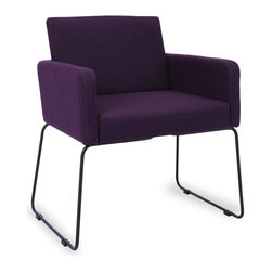 Bryght - Delma Orchid Dining Armchair - Clean, modern and dressy, the Delma dining armchair brings a trendy element to the table. A comfortable upholstered seat perfectly offsets sleek metal legs. Choose from a variety of colors for that perfect pop of color.