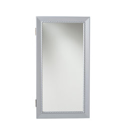 SEI - Natalia Wall Mount Jewelry Mirror - Sophisticated yet simple, this silver jewelry mirror provides an assortment of storage options and is the perfect solution to keep you organized. The clean, modern design brings both form and function into your home. The unit offers 14 hanging hooks, 16 earring notches, four cushioned ring holders, and a shelf for assorted pieces. This elegant wall mount jewelry mirror will be a beautiful addition to any bedroom, walk-in closet, bathroom or entryway. The handcrafted touch of artisan skill creates variations in color, size and design. If buying two of the same item, slight differences should be expected. Note: color discrepancies may occur between this product and your computer screen.