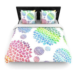"""Kess InHouse - Catherine Holcombe """"Feel the Rainbow"""" Rainbow White Cotton Duvet Cover (Queen, 8 - Rest in comfort among this artistically inclined cotton blend duvet cover. This duvet cover is as light as a feather! You will be sure to be the envy of all of your guests with this aesthetically pleasing duvet. We highly recommend washing this as many times as you like as this material will not fade or lose comfort. Cotton blended, this duvet cover is not only beautiful and artistic but can be used year round with a duvet insert! Add our cotton shams to make your bed complete and looking stylish and artistic!"""