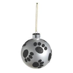 Midwest CBK - Paw Print Christmas Tree Ornament - Glass Ball Dog Pet Animal Holiday Gift - Paw Print Glass Ball Christmas Ornament