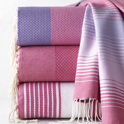"Scents and Feel - Scents and Feel Fuchsia ""Fouta"" Towels - These handwoven cotton towels become softer with use. They're as perfect on the beach as in the bath, and they're also nice as a throw or pareo. By Scents and Feel. Machine wash. Large towel, 38"" x 78"". Guest towel, 20"" x 28"". Imported."