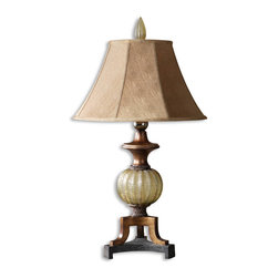 Uttermost - Uttermost Gavet Table Lamp 26325 - Crackled, translucent sea green sphere with antiqued stain, black crackled foot and copper bronze details. The round bell shade is a silkened golden bronze textile with a wavy pattern.