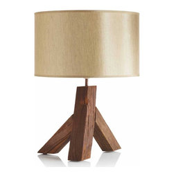 """Viva Terra - Elm Wood Table Lamp - The reclaimed, weather worn elm woodof our lamp combines rural earthinesswith urbane modern design. The satinshade casts an inviting glow. 60W bulb. UL listed.16.5""""DIAM x 22.5""""H"""