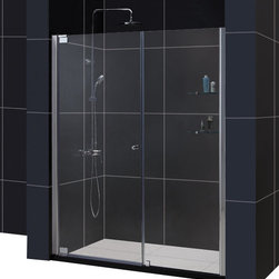 DreamLine - DreamLine SHDR-4154728-01 Elegance 54 1/2 to 56 1/2in Frameless Pivot Shower Doo - The Elegance pivot shower door combines a modern frameless glass design with premium 3/8 in. thick tempered glass for a high end look at an excellent value. The collection is extremely versatile, with options to fit a wide range of width openings from 25-1/4 in. up to 61-3/4 in.; Smart wall profiles make for an easy and adjustable installation for a perfect fit. 54 1/2 - 56 1/2 in. W x 72 in. H ,  3/8 (10 mm) thick clear tempered glass,  Chrome or Brushed Nickel hardware finish,  Frameless glass design,  Width installation adjustability: 54 1/2 - 56 1/2,  Out-of-plumb installation adjustability: Up to 1 in. per side,  Frameless glass pivot shower door design,  Elegant pivot mechanism and anodized aluminum wall profiles,  Stationary glass panel with two glass shelves,  Door opening: 26 in.,  Stationary panel: 24 in.