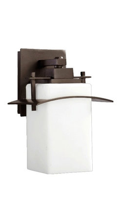 Quorum Lighting - Outdoor Wall Light With Rectangle White Glass - 13-Inches Tall - 7200-9-86 - Oiled bronze finish outdoor wall light with white glass shade. Takes (1) 100-watt incandescent A19 bulb(s). Bulb(s) sold separately. UL listed. Wet location rated.