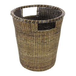 Oriental Furniture - Rattan Small Desk Waste Basket - This top-quality Asian rattan basket has a round, tapered design. Its fine antiqued finish creates a beautiful, rustic accent to decorate your house, while still remaing highly functional as a storage basket, planter, or wastepaper basket.