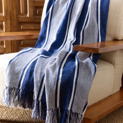 Cooper Bold Striped Blanket, Blue and White - I love this throw! With a nod to the nautical, it gives a dash of summer to the fall living room.