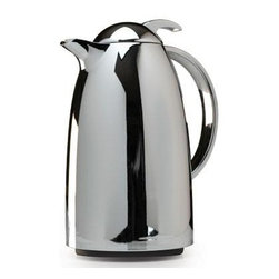 Epoca - Thermal Carafe 34 oz. Chrome - This contemporary styled one Liter Thermal Carafe from the Epoca Primula Collection has a mirror chrome finish and glass lining. It provides twice the insulation  keeping your beverages hot or cold for hours. The spill-proof top with trigger action provides for easy one-hand operation. This carafe is perfect for travel  home  or office use.  This item cannot be shipped to APO/FPO addresses. Please accept our apologies.