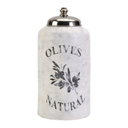 Large Olive Jar w/ Nickel Lid - This large decorative lidded jar is made from terracotta and features an antiqued white finish and olive branch graphic.
