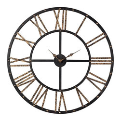 Joshua Marshal - Metal Framed Roman Numeral Open Back Wall Clock - Metal Framed Roman Numeral Open Back Wall Clock