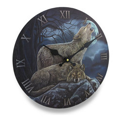 Zeckos - Lisa Parker 2 Wolves Round Wall Clock - With artwork designed by artist Lisa Parker, this beautiful wooden wall clock is a must-have piece for your collection of fantasy art featuring a wolf lazily resting on a rocky ledge with a second wolf standing, howling in the cloudy, bright full moon lit night. Made from wood (MDF), this 11.75 inch (30 cm) diameter clock easily mounts to the wall with just a single nail or screw using the attached hanger on the back, and is 1.5 inches (4 cm) deep. It requires one AA battery (not included), and makes a fantastic gift for any collectors of Lisa Parker or fantasy artwork sure to be loved