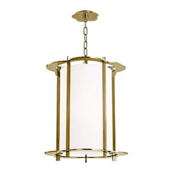 Hudson Valley Lighting - Hudson Valley Warwick I-5 Light Pendant in Aged Brass - Hudson Valley Lighting's Warwick's I-5 Light Pendant shown in Aged Brass. By the 1960s, a design evolution was gaining momentum. While continuing to embrace early modernism's enthusiasm for clean design, Mid-Century Modernists elevated expression and sculptural forms. Warwick enlivens a clean cylindrical shade with a floral-patterned cast metal frame. The playful curves of Warwick's outline complement its sleek vertical columns, for a look that is both fun and elegant.