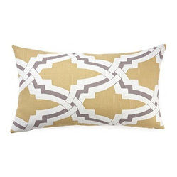 5 Surry Lane - Duralee Bokara Yellow Geometric Pillow - Go for a bold pop of pattern and color with this stylish throw pillow. The link design mixes well with other patterns and can even be reversed for a solid color option. It's an easy and appealing addition to your sofa or bed.