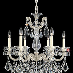 Schonbek - La Scala Antique Silver Six-Light Clear Heritage Handcut Crystal Chandelier, 23W - -Heritage Handcut Crystal: This crystal is cut by hand in two stages on an iron and then a sandstone wheel. Each crystal is then polished on a wood wheel with marble dust. The most authentic handcrafted crystal in the world.  - La Scala is a Rococo-inspired design with ornate arms and scrolls cast by hand from Schonbek family molds. Crystal shapes hark back to sixteenth-century chandeliers. Also Made with Swarovski Elements.  -Clear Heritage Handcut  - Wire Length (in inches): 123  - Light Source: Incandescent Bulb  - Bulbs not included  - Chain Length (in inches): 80  - Uses standard line volt dimmer  - Some assembly required  - For shipping outside of USA, please contact Bellacor customer service  - Cleaning and Care Instructions: Every Schonbek product is of heirloom quality and will last for generations. To ensure it retains its brilliance and splendor for years to come, proper care and regular cleaning are necessary. It is recommended that Schonbek products, and particularly their crystal trim, be lightly dusted with a feather or lambswool duster, or soft brush every two months, or whenever it appears dull or dusty. Consult the fixtures trim diagram for detailed cleaning instructions list of approved cleaning solutions. Schonbeck fixtures should never be subjected to any chemical cleaning agents. - See packaging insert for warranty information. Schonbek  - 5072-48