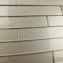 """Elements 2x12 Glass Subway Tiles, Two 2"""" X 12"""" Samples - A warm grey 2x12 glass subway tile with subtle color variation from tile to tile. Arrange them in the pattern of your choice! These one of a kind glass subway tiles have a textured painted backing that ads a touch of character without overpowering a room. Elements is available here on Houzz in 6 great color options in both 4x6 and 2x12 formats."""