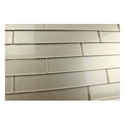 """Elements Coral 2x12 Glass Subway Tiles, Two 2"""" X 12"""" Samples - A warm grey 2x12 glass subway tile with subtle color variation from tile to tile. Arrange them in the pattern of your choice! These one of a kind glass subway tiles have a textured painted backing that ads a touch of character without overpowering a room."""