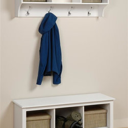 Prepac - Entryway & Home Cubbies Bench and Shelf Set - Glossy, Bright White finish. Includes cubbie bench and a cubbie shelf. Warranty: Five years. Made from CARB-compliant, laminated composite woods . Made in North America. Assembly required. Bench:. Three storage compartments. Cubby: 13.75 in. W x 14 in. D x 12.5 in. H. Overall: 48 in. W x 15.75 in. D x 20 in. H. Wall shelf:. Three storage compartments. Four large hooks accommodate coats and jackets. Easy to install two-piece hanging rail system. Cubby: 14.25 in. W x 10 in. D x 8.75 in. H. Overall: 48 in. W x 11.5 in. D x 16.5 in. HKeep your gloves, hats, coats and jackets together where you need them with the Entryway Cubbie Shelf. Perfect for any front hallway, mudroom or home office. Versatile and practical, the Cubbie Bench is at home in any room. It�۪s equally suitable for holding your baskets, books and blankets in other areas of the home, such as at the foot of a bed. With a simple style that blends with any d̩cor, this is one bench that won�۪t leave you on the sidelines.