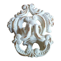 """AJcd-1320 - Cast Iron Antique White Door Knocker cd-1320 - Cast iron antique white door knocker cd-1320. Measures 6"""" x 5"""". No assembly required."""