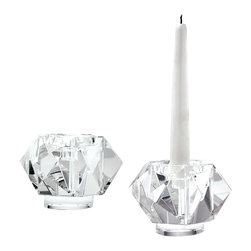 Lazy Susan - Lazy Susan Faceted Star Crystal Candleholders, Small Set of 2 - This Faceted Star Candleholder Is Formed By Hand Cutting Sharp Angular Pieces Of High Quality Crystal Around A Solid Central Column. The Crystal Shimmers And Dances When The Candle Is Light Creating Ambience And The Shape Angles Play With The Reflections. Suitable For A Tea Light Or A Taper Candle. Set Of 2.