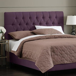 """Home Decorators Collection - Custom Kensington Upholstered Bed - Beautifully crafted and elegantly finished, our Custom Kensington Upholstered Bed is finished with button tufting and has a soft, plush appearance. The headboard is upholstered in the same fabric as the rails and footboard. Select your fabric from our wide variety of beautiful, top-quality options to create a piece that fits your style and bedroom decor. Fits standard high-profile 9"""" box spring. Steel bed frame. Includes hardware and instructions. Assembled to order in the USA and delivered in 4-6 weeks. Spot clean only."""