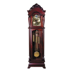 ACME Furniture - Aaron Traditional Grandfather Clock in Dark Cherry Finish - 014 - Aaron Collection Grandfather Clock
