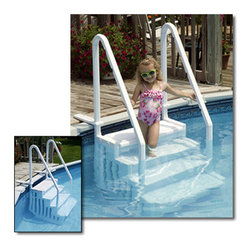 Blue Wave - Blue Wave Easy Pool Step - Easy pool step; by Blue Wave; make entry. Double handrails and big slip-resistant steps make an easy exit for young and elderly swimmers alike. The easy step; is designed to meet or exceed all snip standards for safety and swimmer entrapment. The unit is easy to assemble and can accommodate up to a 350-lb. Swimmer. The step is perforated to allow water and chemical circulation and eliminate a dead water area where algae can grow. The patented design allows for easy installation and removal of the ballast weight for off-season winterization. Easy step; top flanges anchor securely to any deck for firm footing. The step ships by standard ups or FedEx, so it is economical to order. Backed by a 3-year warranty. Invest in this in-pool step and make entering and leaving your pool a snap - at this great price.