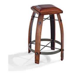 Vintage Oak Wine Barrel Bar Stool with Leather Seat -