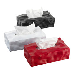 Essey of Denmark - Essey Wipy II White Tissue Box Holder - Long Rectangular - The Essey Wipy is the long rectangular cousin of the Essey Wipy cube tissue box holder. Wipy has the crumpled paper look originated by the design award-winning Essey Bin Bin Wastebasket. Wipy II is made of thermoplastic elastomer in Finland. Wipy II measures about 11 x 6 x 4 inches and fits leading tissue brands such as Kleenex and Puffs.