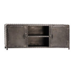 Dutch Industrial Plasma Stand - Vintage Dutch Inspired Industrial Console is rustic yet modern.The refined industrial steel front doors, iron side panels and the exposed rivets keep the warm authentic look. This console is solid and was built to last.