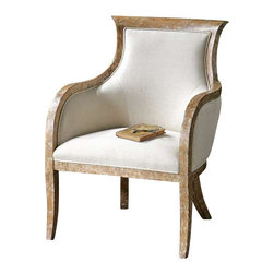 "Uttermost Quintus Linen Armchair - Almond stained, distressed solid white mahogany with antiqued toffee crackle finish and soft linen covering blended with cotton, trimmed in welt, and teflon(r) treated for soil resistance. Almond stained, distressed solid white mahogany with antiqued, toffee crackle paint finish and soft linen covering blended with cotton trimmed in welt and teflon(r) treated for soil resistance. Seat height is 18.5""."