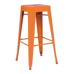 Apt2B - Oxford Metal Counter Stool SET OF 4, Orange - Meet our newest love - The Oxford. Available in a variety of cool colors, you can mix and match to suit your style. Versatile and modern, this counter stool can go anywhere and look good.